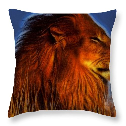 Lion Throw Pillow featuring the digital art Lion - King Of Animals by Lilia D