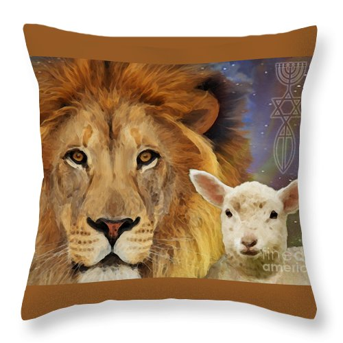 Lion And The Lamb Throw Pillow featuring the painting Lion And The Lamb by Todd L Thomas