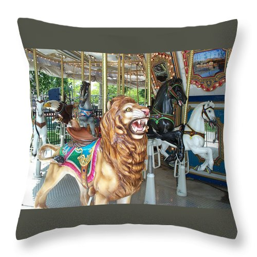 Lion Throw Pillow featuring the photograph Lion At Liberty by Barbara McDevitt