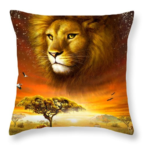 Adrian Chesterman Throw Pillow featuring the digital art Lion Dawn by MGL Meiklejohn Graphics Licensing