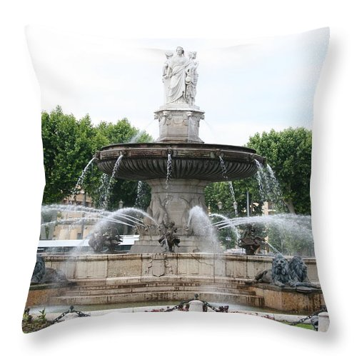 Fountain Throw Pillow featuring the photograph Lion Fountain - Aix En Provence by Christiane Schulze Art And Photography