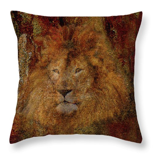 Lion Art Throw Pillow featuring the photograph Lion Of Judah by Constance Woods