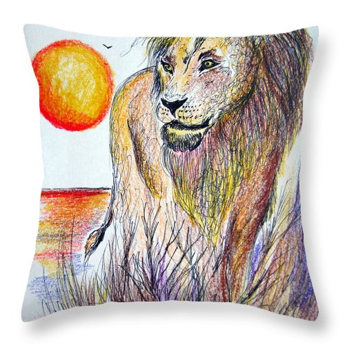 Lion Throw Pillow featuring the painting Lion Of Lions by Roberto Gagliardi