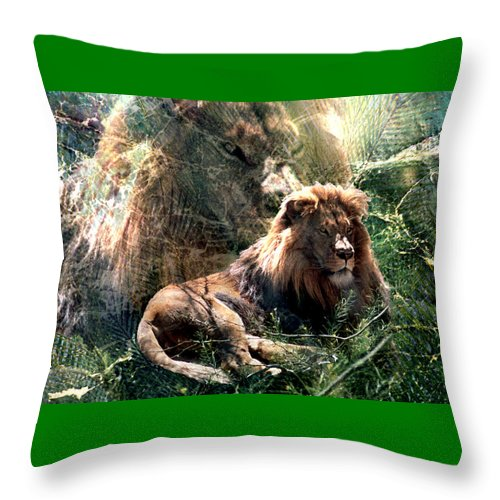 Lion Throw Pillow featuring the digital art Lion Spirit by Lisa Yount