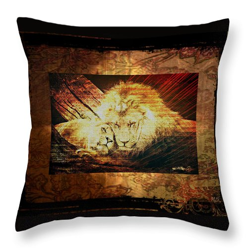 Lion Throw Pillow featuring the digital art Lion Tapestry - Soulmates by Absinthe Art By Michelle LeAnn Scott