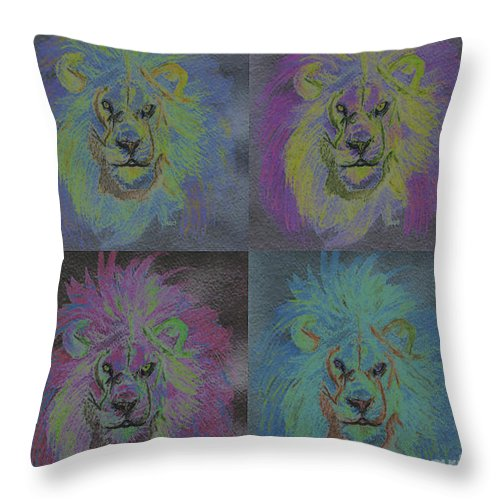 First Star Art Throw Pillow featuring the painting Lion X 4 Color By Jrr by First Star Art