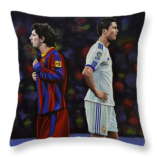 Lionel Messi Throw Pillow featuring the painting Lionel Messi and Cristiano Ronaldo by Paul Meijering