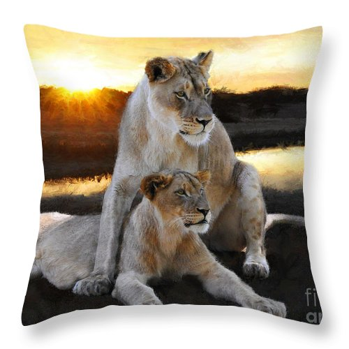 Lioness Throw Pillow featuring the painting Lioness Protector by Constance Woods