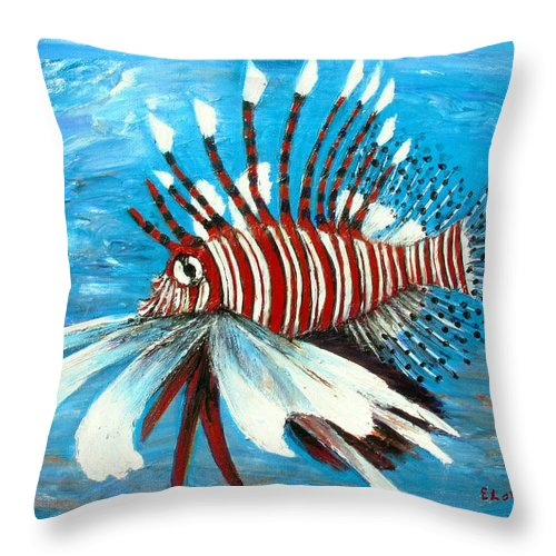 Tropical Throw Pillow featuring the painting Lionfish IIi by Eileen Lovre