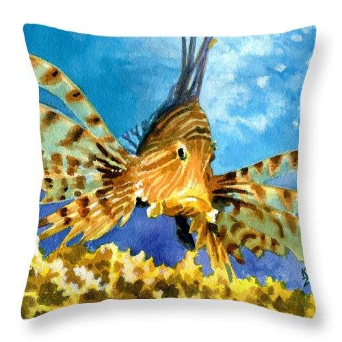 Fish Throw Pillow featuring the painting Lionfish by Ken Meyer jr