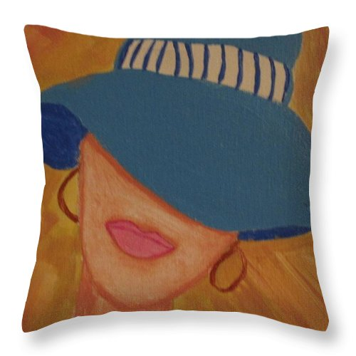 Lips Throw Pillow featuring the painting Lips V by Julie Crisan