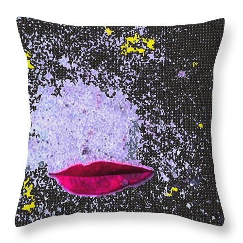 Leaf Throw Pillow featuring the mixed media Lipz 2 Kizz by Piety Dsilva