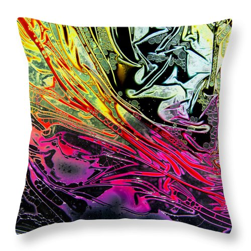 Surrealism Throw Pillow featuring the digital art Liquid Decalcomaniac Desires 1 by Otto Rapp
