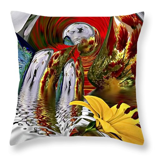 Conceptual Throw Pillow featuring the digital art Kissing Flowers by Maria Coulson