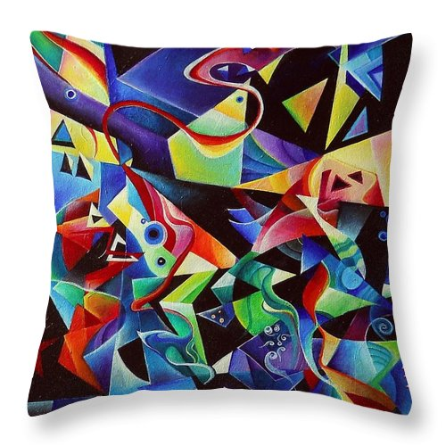 Arnold Schoenberg Piano Concert No.1 Acrylic Abstract Pens Music Throw Pillow featuring the painting listening to piano concert op.42 of Arnold Schoenberg by Wolfgang Schweizer