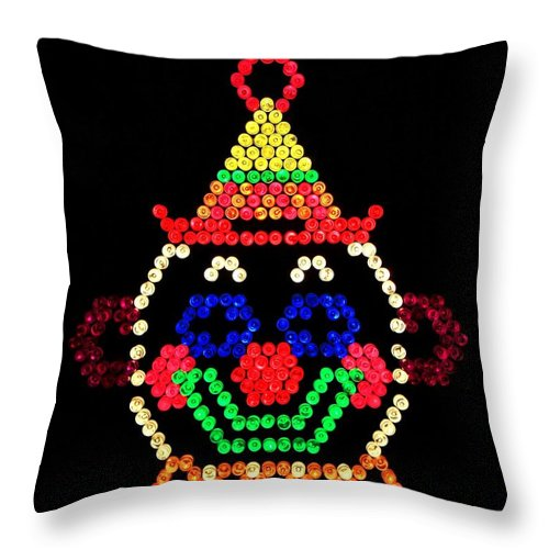 Nostalgia Throw Pillow featuring the photograph Lite Brite - The Classic Clown by Benjamin Yeager