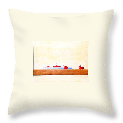 Cherries Throw Pillow featuring the painting Lite Life by A Robert Malcom