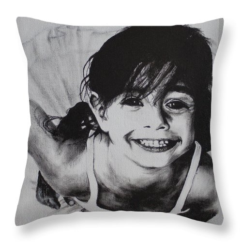 Ballerina Throw Pillow featuring the painting Little Ballerina by Tylir Wisdom