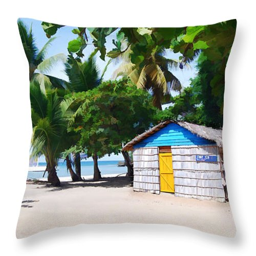 Beach Throw Pillow featuring the painting Little Beach Shack Under The Palms by Elaine Plesser