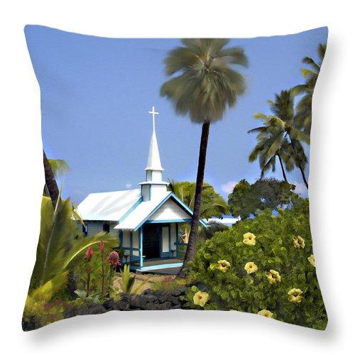 Hawaii Throw Pillow featuring the photograph Little Blue Church Kona by Kurt Van Wagner