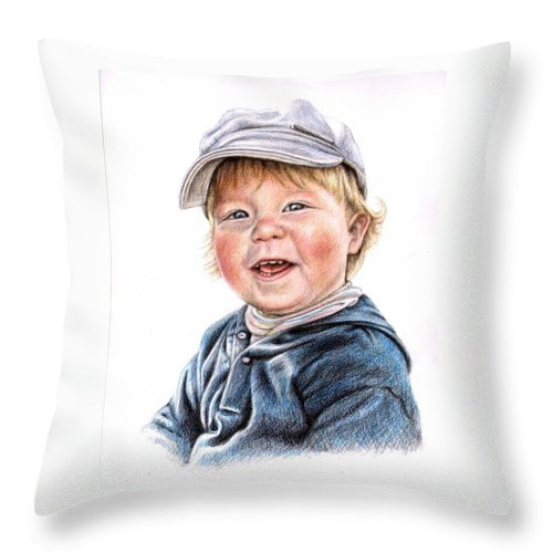 Boy Throw Pillow featuring the drawing Little Boy by Nicole Zeug