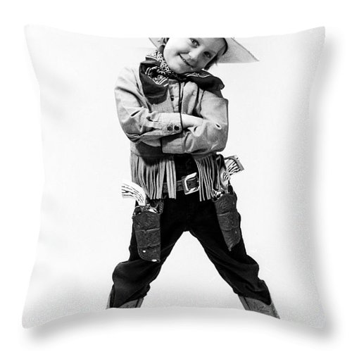 Cowboy Throw Pillow featuring the photograph Little Buckaroo by Jerry McElroy