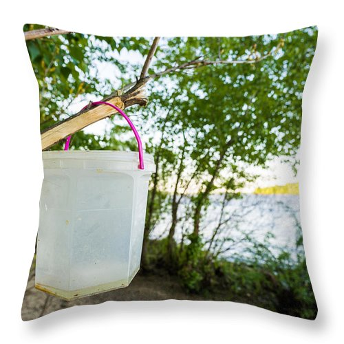 Accessory Throw Pillow featuring the photograph Little Bucket by Alain De Maximy