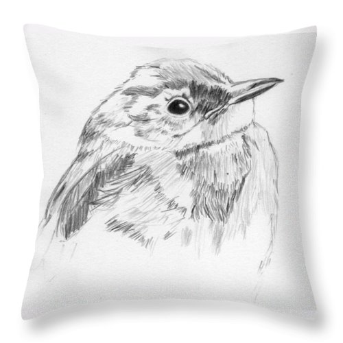 Bird Throw Pillow featuring the drawing Little Buddy by Crystal Hubbard