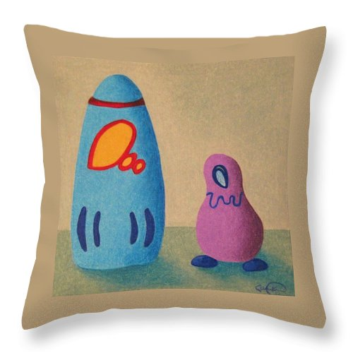 Quirky Throw Pillow featuring the drawing Little Companion by Caren Kinne