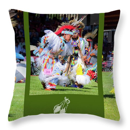 Native American Throw Pillow featuring the photograph Little Competitors by Theresa Tahara