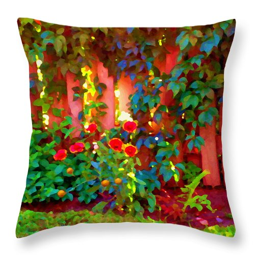 Quebec Throw Pillow featuring the painting Little Country Scene Pink Flowers Climbing Leaves On Wood Fence Colors Of Quebec Art Carole Spandau by Carole Spandau