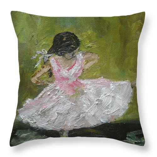 Girl Throw Pillow featuring the painting Little Dansarina by Reina Resto