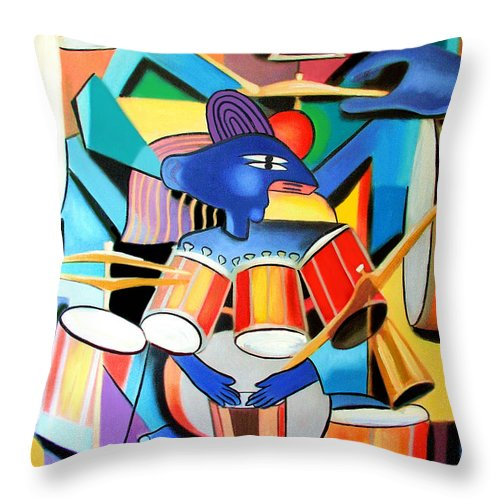 Little Drummer Boy Throw Pillow featuring the painting Little Drummer Boy by Anthony Falbo