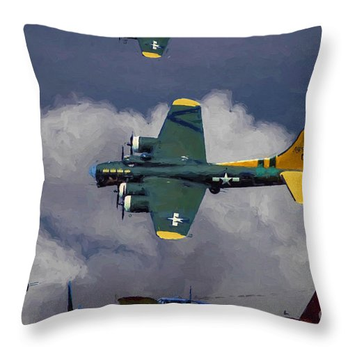 Boeing B-17 Throw Pillow featuring the digital art Little Friends by Tommy Anderson