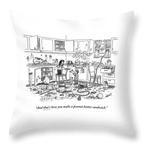 Recipes Throw Pillow featuring the drawing Little Girl Handing A Little Boy A Sandwich by Tom Cheney