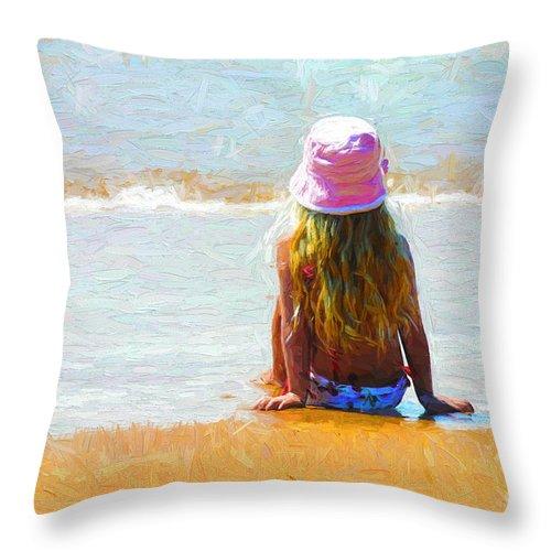 Little Girl Throw Pillow featuring the photograph Little girl sits on a beach by Sheila Smart Fine Art Photography