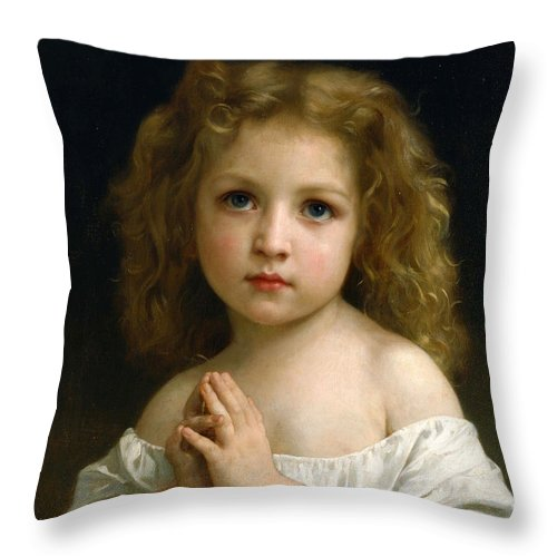 William-adolphe Bouguereau Throw Pillow featuring the painting Little Girl by William-Adolphe Bouguereau