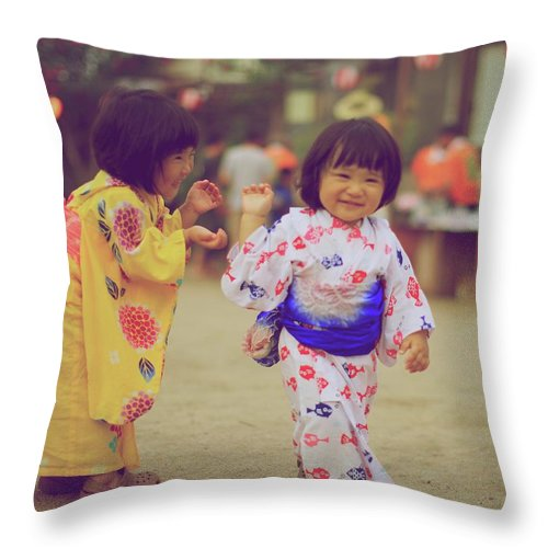 Tottori Prefecture Throw Pillow featuring the photograph Little Girls At A Festival by Marvin Fox