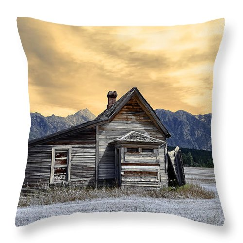 Architecture Throw Pillow featuring the photograph Little House On The Prairie by Wayne Sherriff