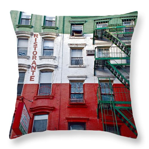 Architecture Throw Pillow featuring the photograph Little Italy Nyc by Aneurin Production