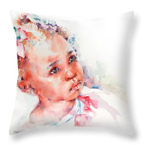 Africa Throw Pillow featuring the painting Little Miss Africa by Stephie Butler