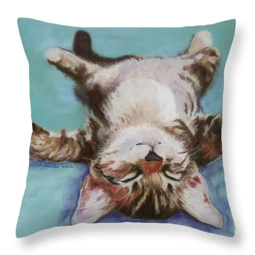 Cat Painting Throw Pillow featuring the pastel Little Napper by Pat Saunders-White