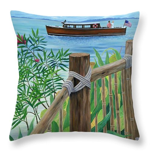 Island Throw Pillow featuring the painting Little Palm Island by Danielle Perry
