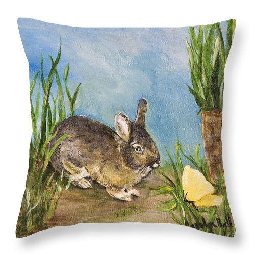 Painting Throw Pillow featuring the painting Little Pet Bunny by Carolyn Bell