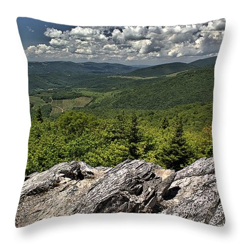 Little Pinnacle Throw Pillow featuring the photograph Little Pinnacle Grayson Highlands Va by Mel Hensley