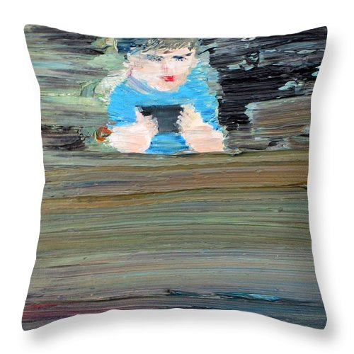 Child Throw Pillow featuring the painting Little Player by Fabrizio Cassetta