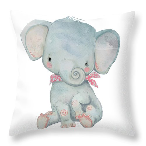 Watercolor Painting Throw Pillow featuring the digital art Little Pocket Elephant by Cofeee