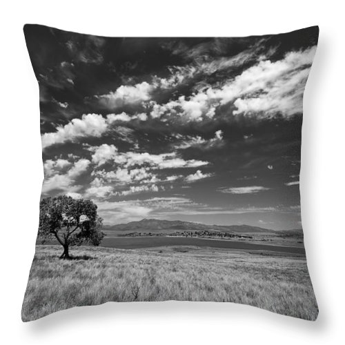 Big Sky Throw Pillow featuring the photograph Little Prarie Big Sky - Black And White by Peter Tellone