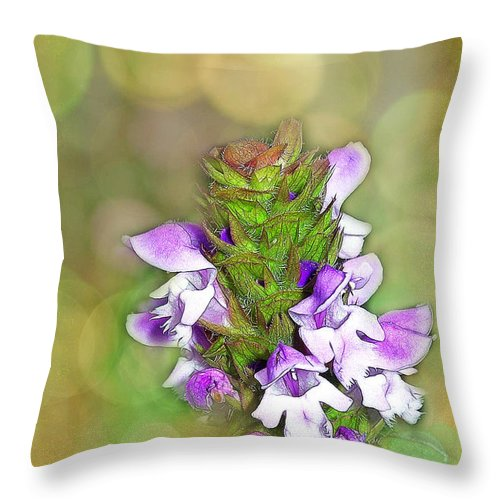Purple Throw Pillow featuring the photograph Little Purple Mint by Judi Bagwell