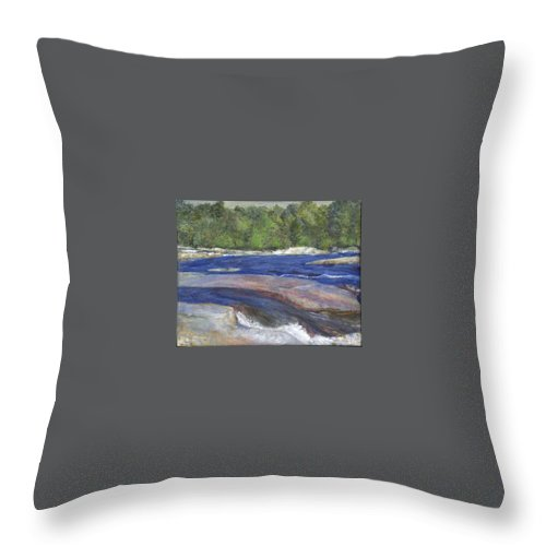 Moose River Throw Pillow featuring the painting Little Rapids by Sheila Mashaw